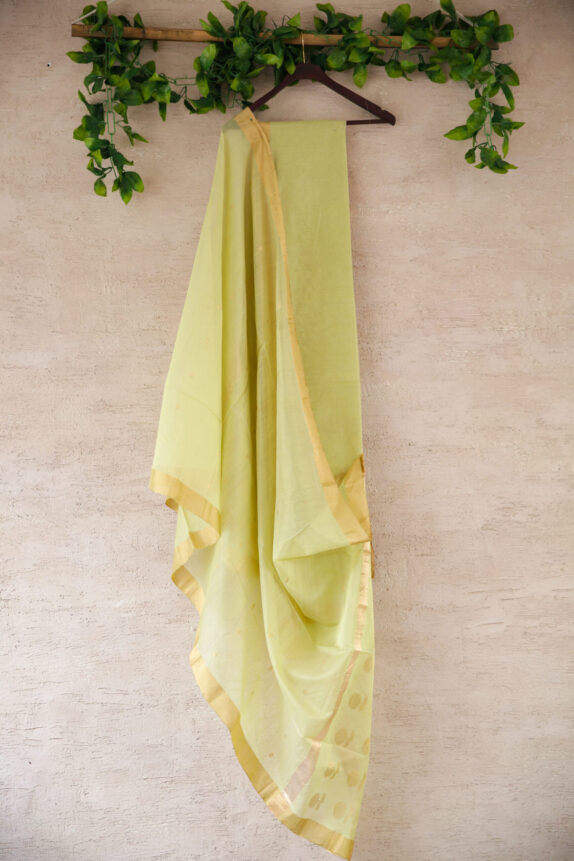 HANDWOVEN LIME GREEN CHANDERI SUIT SET