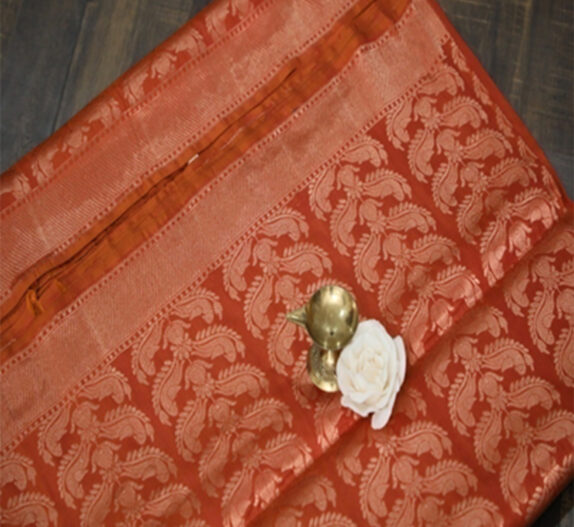HANDWOVEN RUST BROWN BANARASI SAREE