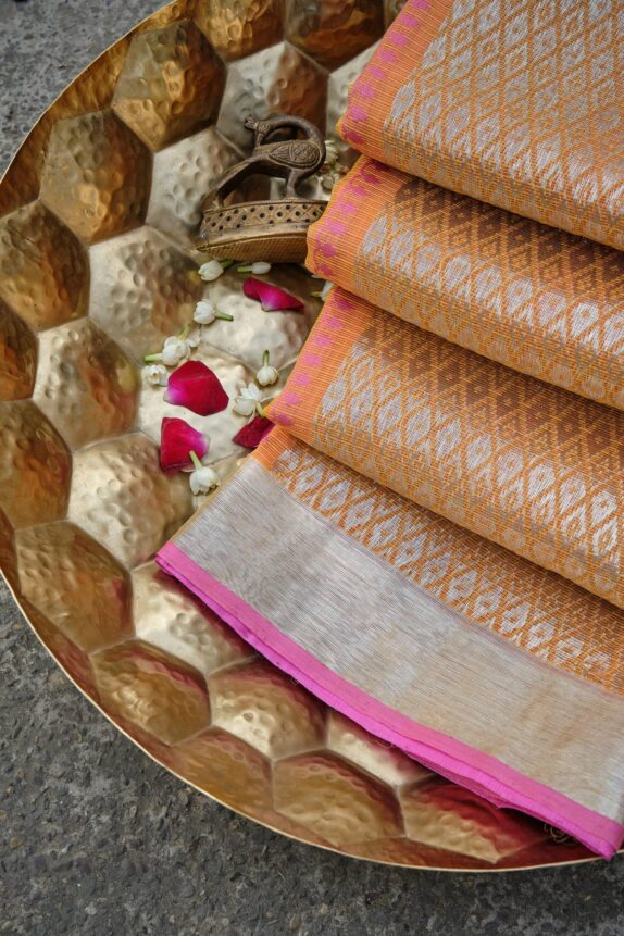 HANDWOVEN MARIGOLD YELLOW KOTA DORIA SAREE