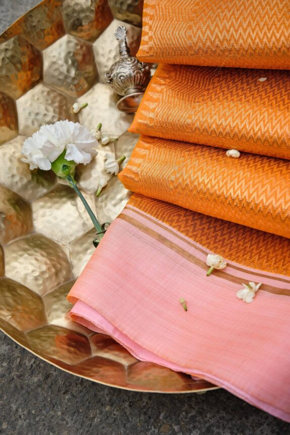 HANDWOVEN SUNRISE ORANGE & PASTEL PINK KOTA DORIA SAREE