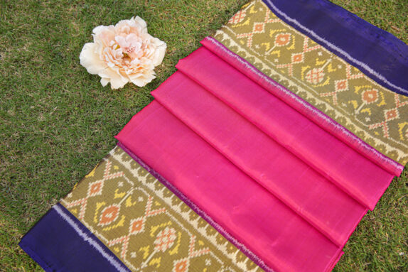 HANDWOVEN RANI PINK & ROYAL BLUE SINGLE IKAT SAREE