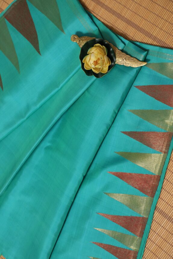 HANDWOVEN SEA GREEN KANCHIPURAM SAREE