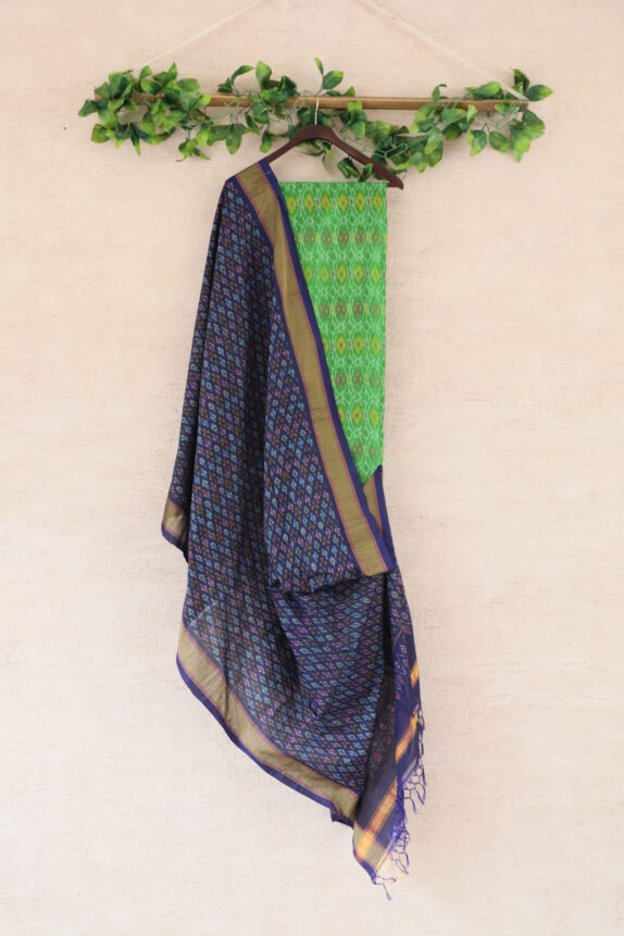 HANDWOVEN PARROT GREEN & PURPLE IKAT SUIT SET