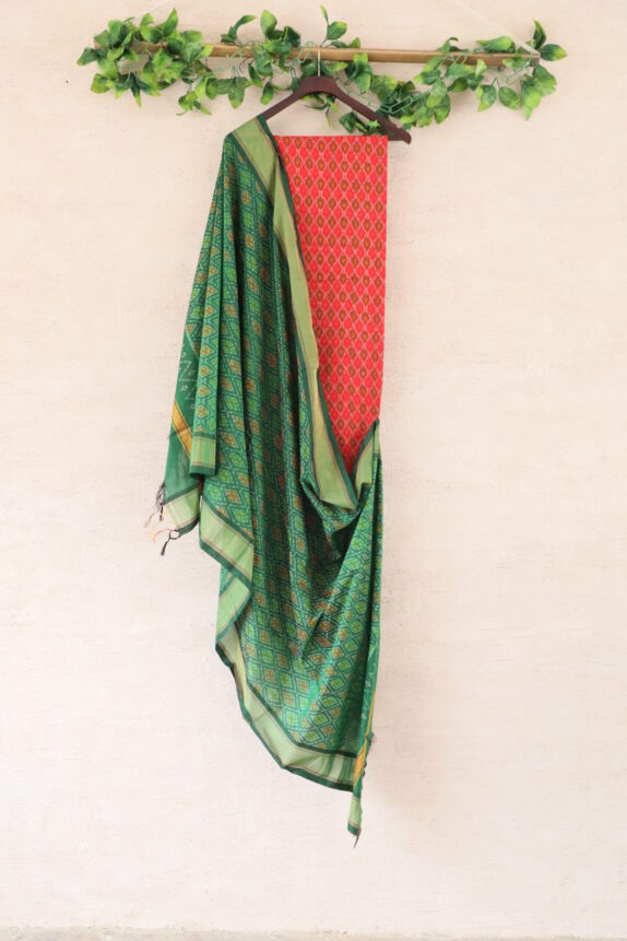 HANDWOVEN CRIMSON RED & EMERALD GREEN IKAT SUIT SET