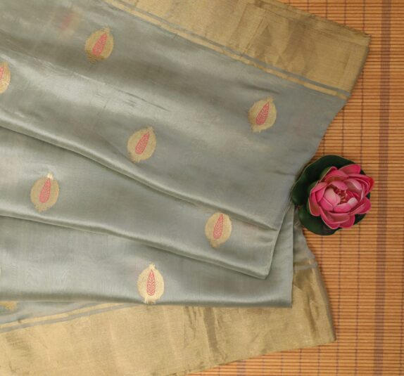HANDWOVEN SILVER GREY EK NALIYA CHANDERI SAREE