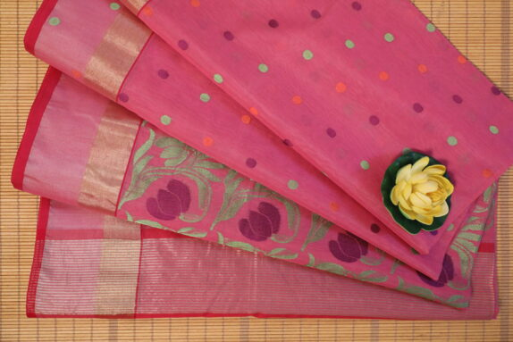 HANDWOVEN DEEP PINK DO NALIYA CHANDERI SAREE