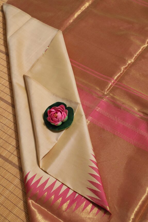 HANDWOVEN CREAM & PASTEL PINK KANCHIPURAM SAREE