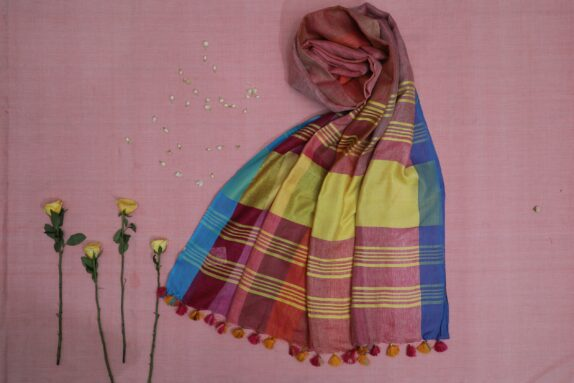 HANDWOVEN MULTI COLOR LINEN SAREE