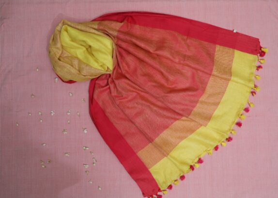HANDWOVEN HOT PINK & SUNSHINE YELLOW LINEN SAREE
