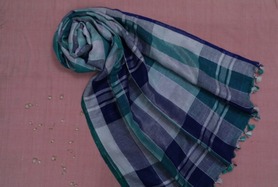 HANDWOVEN NAVY BLUE, SEA GREEN CHECKERED LINEN SAREE