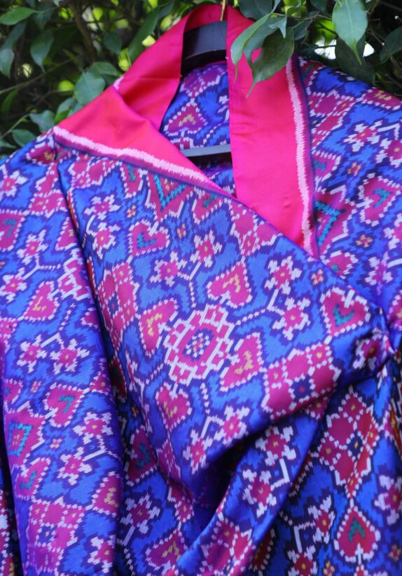 HANDWOVEN INK BLUE & BABY PINK SINGLE IKAT PATAN PATOLA DUPATTA