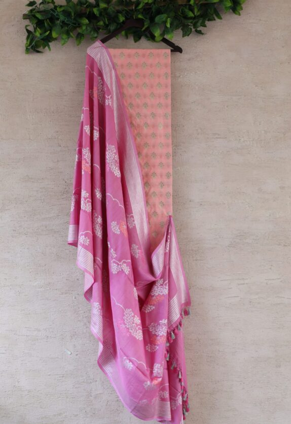 HANDWOVEN PEACH PINK BANARASI SILK SUIT SET