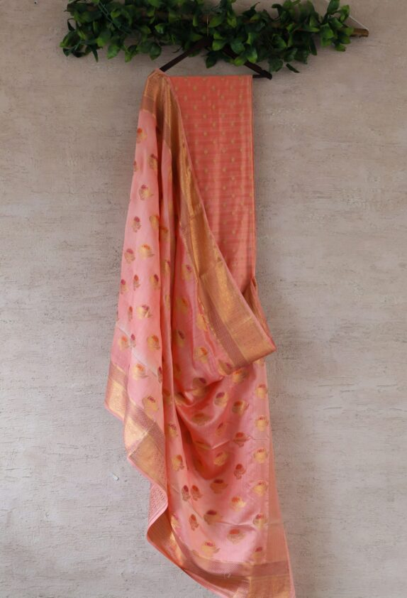 HANDWOVEN PEACH BANARASI SILK SUIT SET