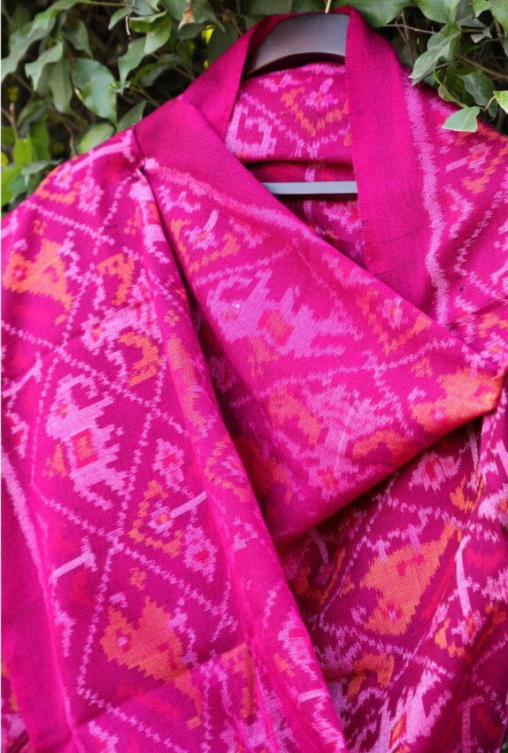 HANDWOVEN PURPLISH PINK SINGLE IKAT RAJKOT WOOLEN SHAWL