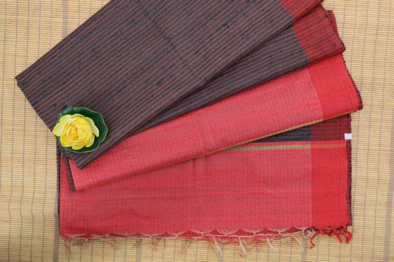 HANDWOVEN STRAWBERRY PINK & DARK GREY TUSSAR SILK SAREE