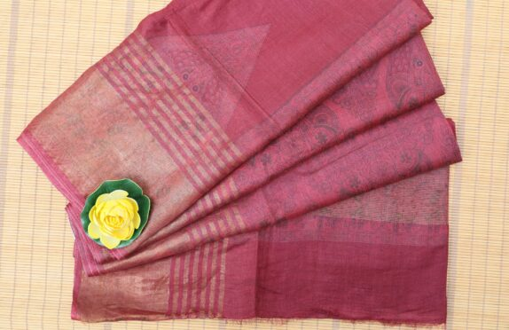 HANDWOVEN MAGENTA PINK & GOLDEN TUSSAR SILK SAREE