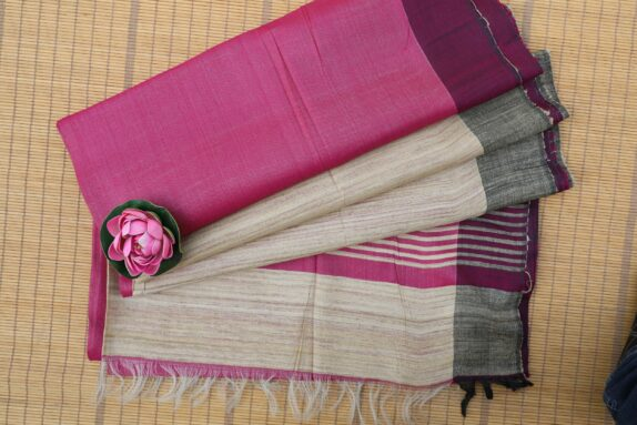 HANDWOVEN HOT PINK & SILVER GREY TUSSAR SILK SAREE
