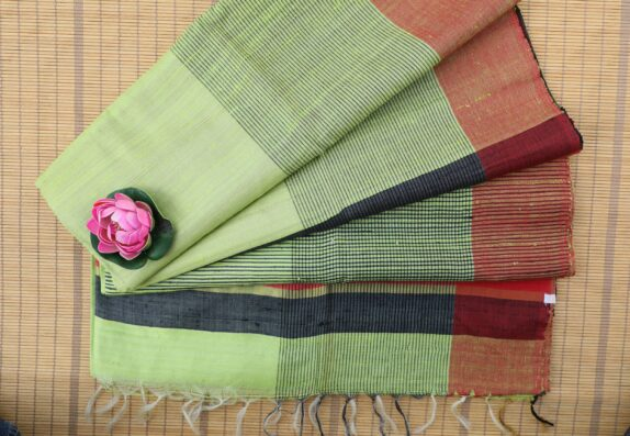 HANDWOVEN LIME GREEN TUSSAR SILK SAREE