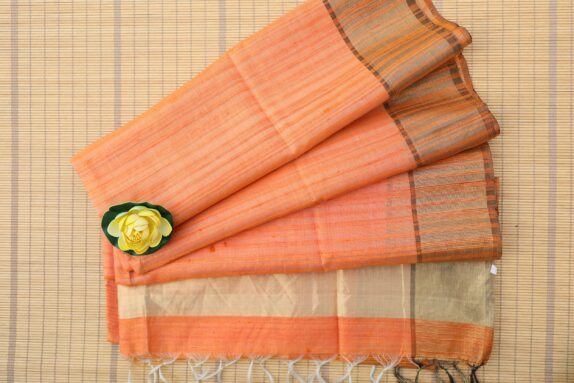 HANDWOVEN SUNRISE ORANGE TUSSAR SILK SAREE