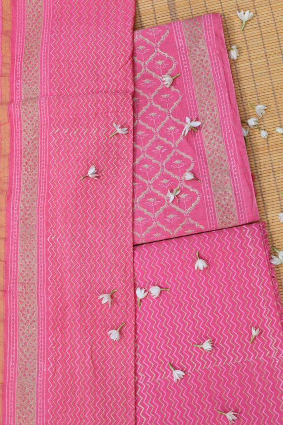 HANDBLOCK RANI PINK & GOLDEN CHANDERI SUIT SET