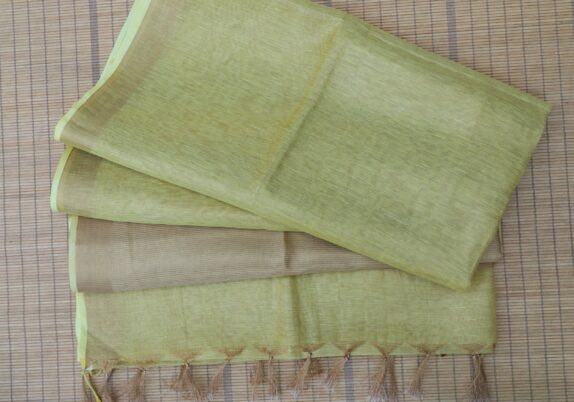 HANDWOVEN YELLOW & BEIGE LINEN SAREE