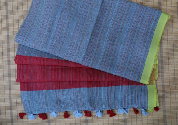 HANDWOVEN SKY BLUE & BLOOD RED LINEN SAREE