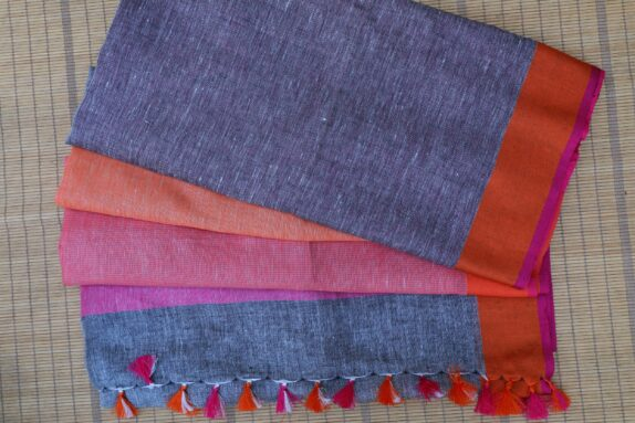 HANDWOVEN GREY, PURPLE, ORANGE & RASPBERRY RED LINEN SAREE