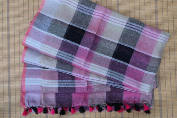HANDWOVEN GREY, PURPLE, BEIGE & BLACK LINEN SAREE