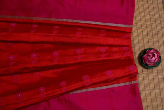 HANDWOVEN CRIMSON RED & HOT PINK EK NALIYA CHANDERI SAREE