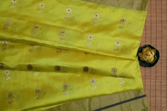 HANDWOVEN BUMBLEBEE YELLOW EK NALIYA CHANDERI SAREE