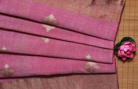 HANDWOVEN ROSE PINK BANARASI SAREE