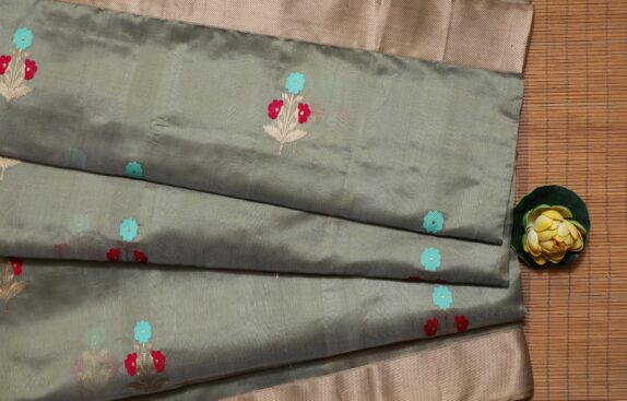HANDWOVEN SAGE GREEN EK NALIYA CHANDERI SAREE