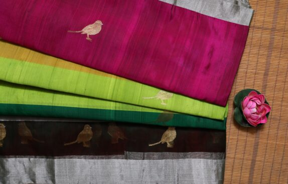 HANDWOVEN MULTI COLOR EK NALIYA CHANDERI SAREE