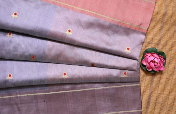 HANDWOVEN FLAMINGO PINK & FLORAL PURPLE EK NALIYA CHANDERI SAREE