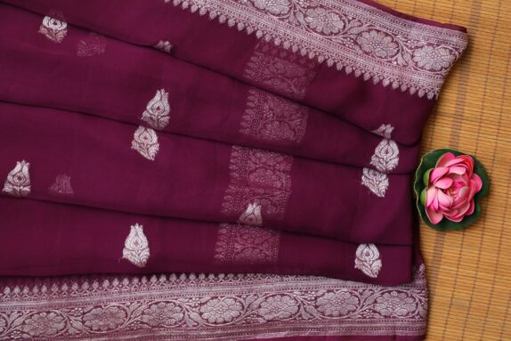 HANDWOVEN JAM PURPLE BANARASI SAREE