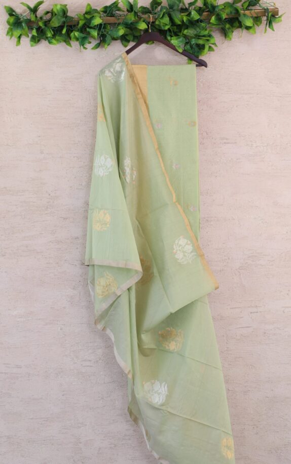 HANDWOVEN SAGE GREEN CHANDERI SUIT SET