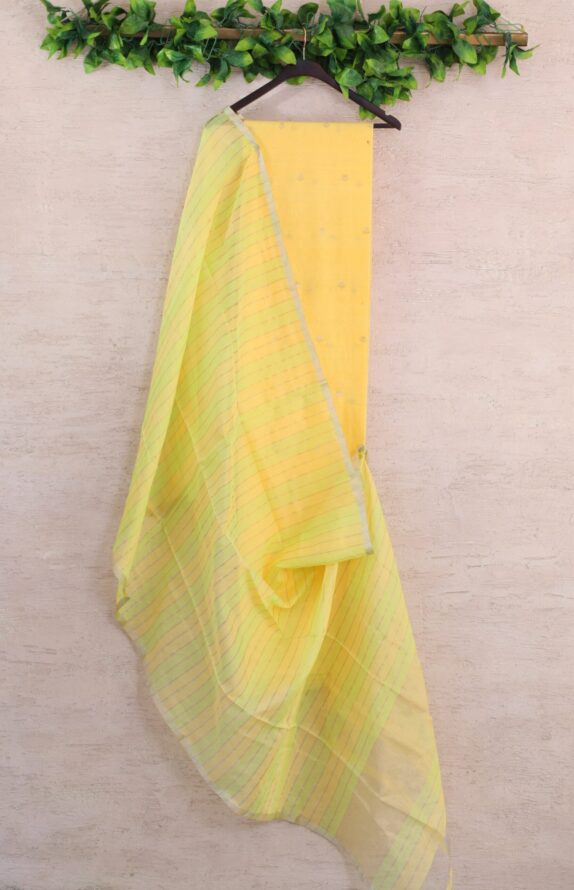 HANDWOVEN SUNRISE YELLOW CHANDERI SUIT SET